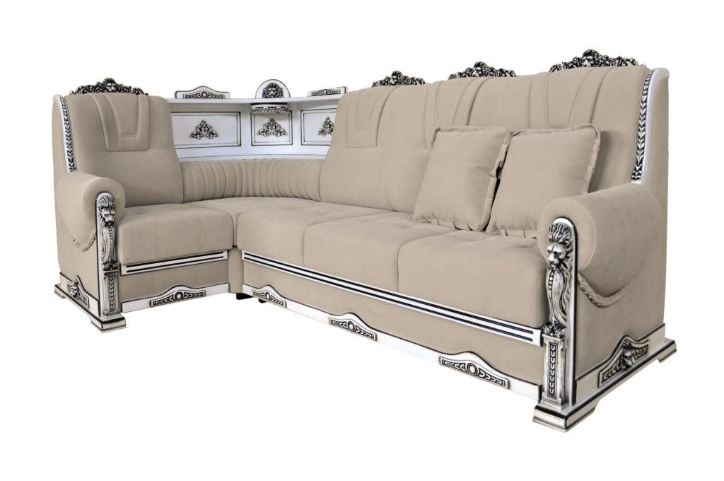 диван угловой с баром и посветкой